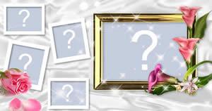 Moldura para 5 fotos com flores!