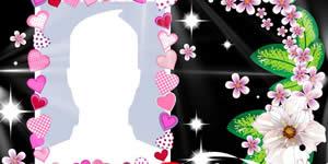 Linda moldura Black com flores, escolha uma foto do seu álbum e faça a sua!