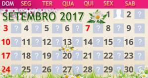 Calendário mês de setembro com você e mais 29 amigos. Crie já o seu!