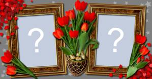 Photo frame for two photos with flowers