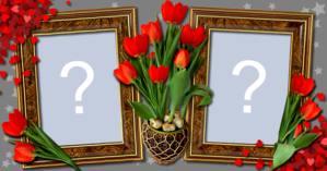 Linda moldura de tulipas vermelhas com duas fotos. Faça a sua!