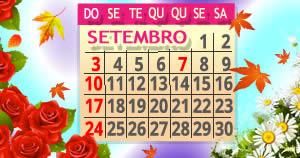 Calendário bem-vindo Setembro com sua foto. Escreva a frase que quiser!