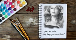 Your photo drawn on a notebook and a note of your choice!