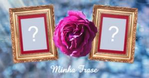 Moldura com flor lilás para duas fotos, e frase de sua escolha!