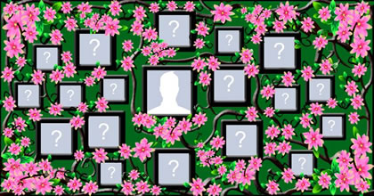 Photo collage with pink flowers and 18 friends!