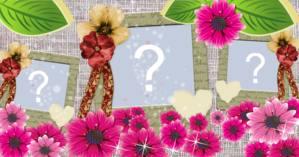 Hermoso marco de flores con tres fotos. ¡crea la tuya!