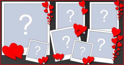 Photo collage with 7 photos and little hearts