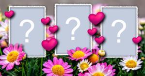 Linda Moldura de Florzinhas com 3 Fotos do seu Albúm. Faça a Sua!