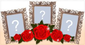 Beautiful Frame with Roses for 3 Fotos. Create Your!