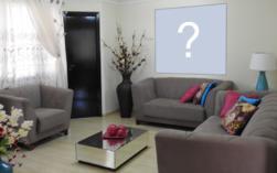 Coloque sua foto preferida na parede de uma linda sala de estar