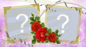 Linda Moldura de rosas para duas fotos. Faça a sua!