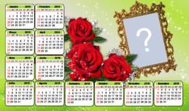 Calendário 2019 c/Rosas vermelhas. Faça c/sua Foto!