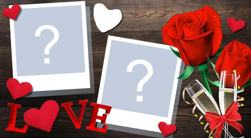 Marco romántico para dos fotos. ¡Haga la suya!