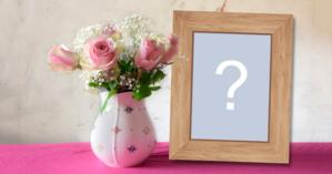 Beautiful frame with vase of roses and wooden frame!