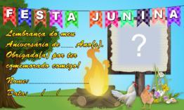 Lembrancinha de Aniversário Tema Festa Junina para imprimir e preencher!