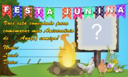 Convite de Aniversário Tema Festa Junina para imprimir e preencher!