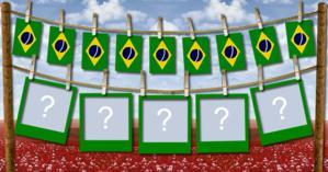 Quais as 5 Fotos que você colocaria neste Varal com Bandeirinhas do Brasil?