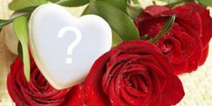 Marco de corazón entre rosas para que usted pueda añadir una foto!