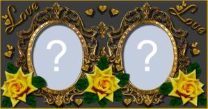 Moldura com Rosas Amarelas para você adicionar duas fotos!