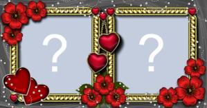 Linda Moldura Com Flores e Corações para duas Fotos. Faça a sua!