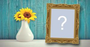 Beautiful frame with blue background and vase of sunflowers! Add your photo