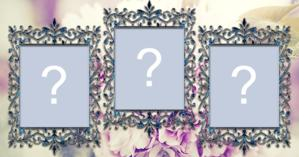 Moldura para 3 fotos e fundo de flores