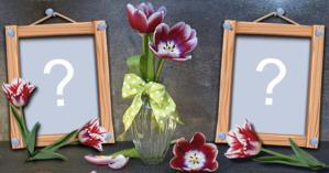 Linda Moldura com vaso de Flor para você adicionar duas Fotos!