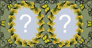 Moldura Florzinhas Amarela com Borboleta para duas Fotos. Faça a sua!
