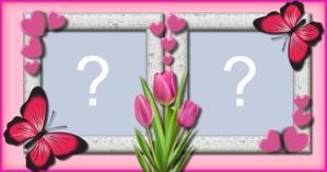 Linda Moldura com Borbolets cor de rosa. Faça a sua com duas Fotos!