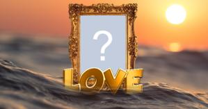 Beautiful Golden Photo Frame with the word LOVE floating over the Water. Add a photo your!