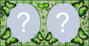 Moldura Verde com Borboletas para duas Fotos. Faça a sua!