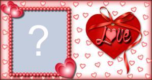 Moldura de Coração com laço escrito Love. Coloque uma Foto sua!