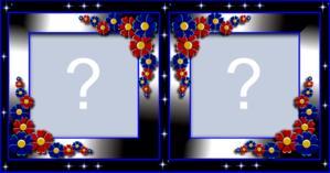 Moldura Azul com Florzinhas pra vc por Duas Fotos suas!