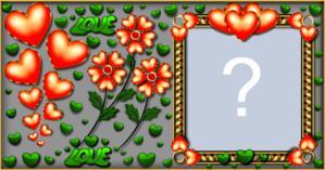 Linda Moldura com Flores e Corações. Coloque sua Foto!