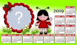 Moldura Calendário 2019 da Joaninha. Adicione uma Foto!