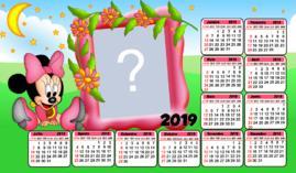Moldura Calendario 2019 da Minnie Baby Rosa. Faça o seu com uma foto!