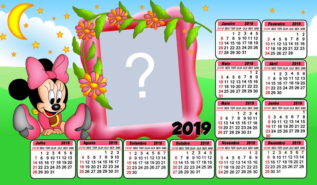 Calendario 2019 Rosa Portugues.Moldura Calendario 2019 Da Minnie Baby Rosa Faca O Seu Com
