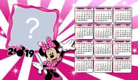Moldura Calendario 2019 Minnie Rosa. Adicione uma Foto!