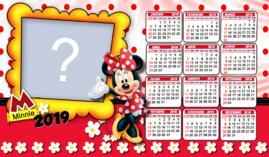 Moldura Calendario 2019 Minnie Vermelha. Adicione uma Foto!