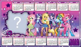 Moldura Calendario My little pony equestria girl. Adicione uma Foto!