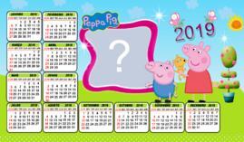 Moldura Calendário Familia Peppa Pig 2019. Faça o seu com uma Foto!