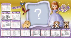 Moldura Calendario 2019 Princesa Sofia. Faça com uma foto!