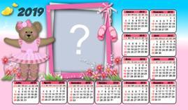 Moldura Calendario 2019 Ursa Bailarina. Faça o seu com uma Foto!