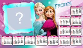 Moldura Calendario 2019 Ana e Elsa Frozem. Faça o seu!