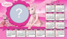 Moldura Calendario 2019 Angelina Ballerina. Faça o seu com uma Foto!