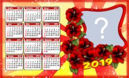 Lindo Calendario 2019 com Flores Vermelhas. Adicione sua Foto!
