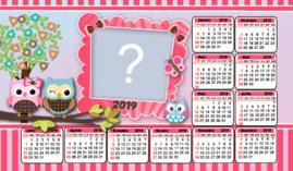 Moldura Calendario 2019 das Corujinhas. Faça com a foto da sua Filha!