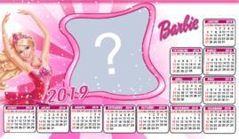 Moldura calendário 2019 da Barbie. Faça o seu com uma foto!