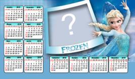 Moldura Calendário 2019 da Elsa Frozen. Coloque uma Foto!