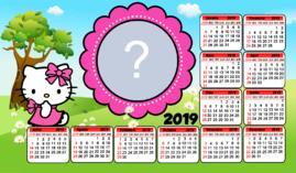 Moldura Calendário Hello Kitty 2019. Faça o seu com foto!